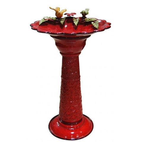 Alpine Red Metal Birdbath