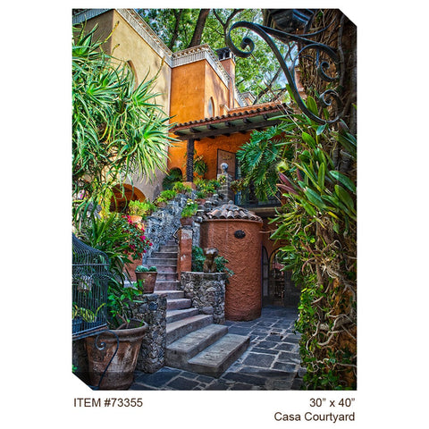 Casa Courtyard Outdoor Canvas Art - Outdoor Art Pros