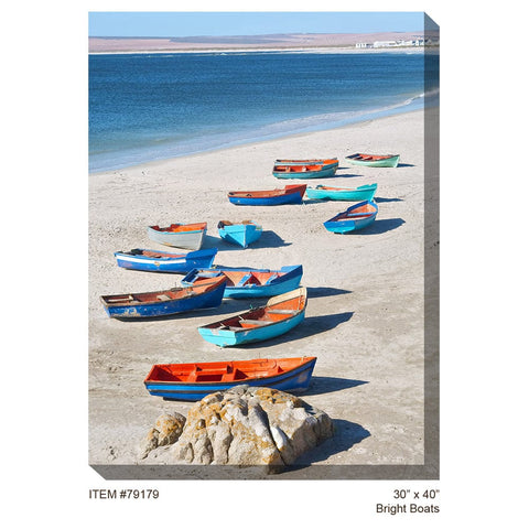 Bright Boats Outdoor Canvas Art - Outdoor Art Pros