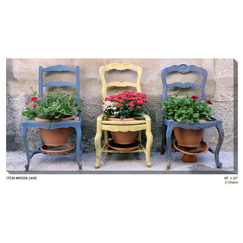 3 Chairs Outdoor Canvas Art - Outdoor Art Pros