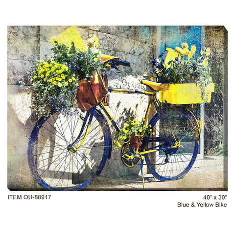 Blue and Yellow Bike Outdoor Canvas Art - Outdoor Art Pros
