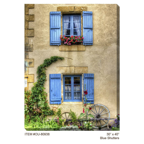 Blue Shutters Outdoor Canvas Art - Outdoor Art Pros