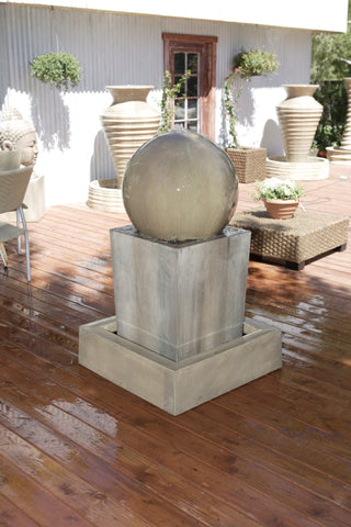 Obtuse With Ball  Garden Water Fountain - Fountains - Outdoor Art Pros