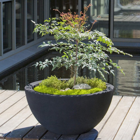 Piccadilly Large Onyx Black Lite Planter - Outdoor Art Pros