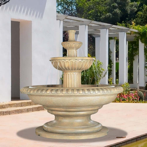 Palazzo Fluted Tiered Outdoor Fountain - Outdoor Art Pros
