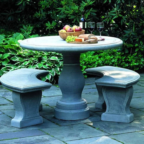 Palladio Garden Set (Round Table with 2 Curved Benches) - Outdoor Furniture - Outdoor Art Pros