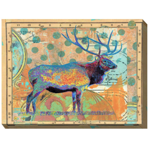 Polka Dot Elk Outdoor Canvas Art - Outdoor Art Pros