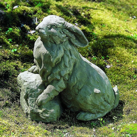 Rabbit on a Rock Cast Stone Garden Statue - Outdoor Art Pros