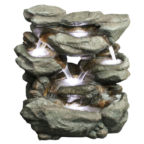 Rainforest Flowing Waterfall Fountain - Outdoor Art Pros