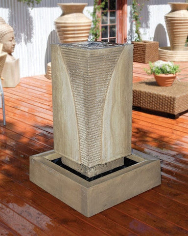 Ribbed Monolith Garden Water Fountain - Fountains - Outdoor Art Pros