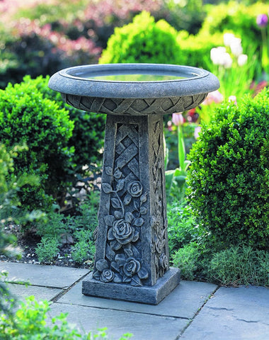 Rose Cast Stone Birdbath - Outdoor Art Pros