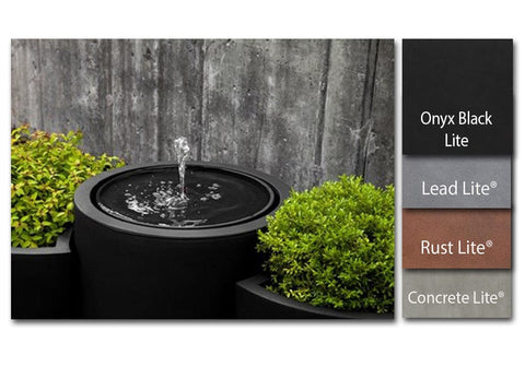 Round Drop-in Fountain in Rust Lite® - Lightweight Fountains - Outdoor Art Pros