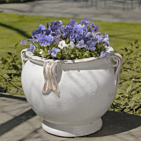 Round Handle Planter in Antique White - Outdoor Art Pros