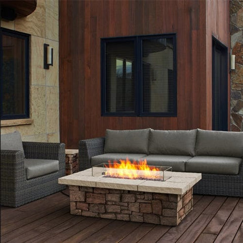 "Sedona 52"" Rectangle Gas Fire Table - Outdoor Art Pros"