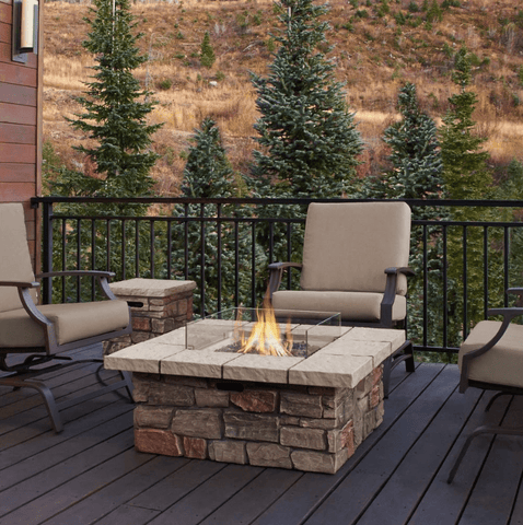 Sedona Outdoor Fireplace Square Propane/Natural Gas Fire Table