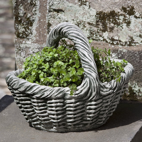 Small Basket with Handle Garden Planter - Outdoor Art Pros