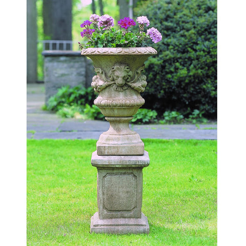 Small Lion Garland Urn on Large Square Frame Pedestal - Outdoor Art Pros