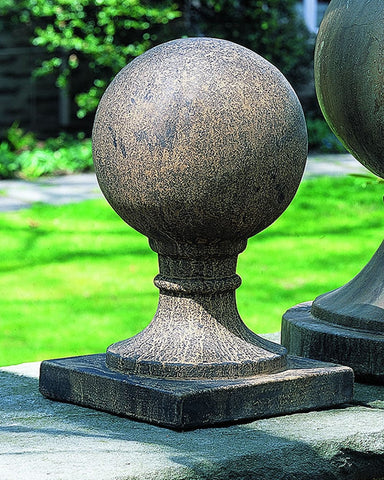 Sphere Square Base Small Cast Stone Garden Statue - Outdoor Art Pros
