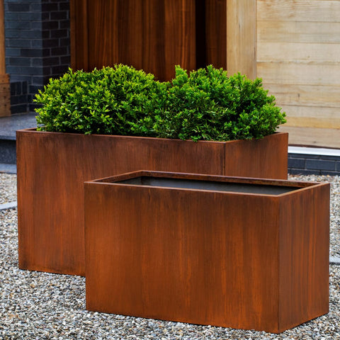 Steel Box Planter Set of 2 - Outdoor Art Pros