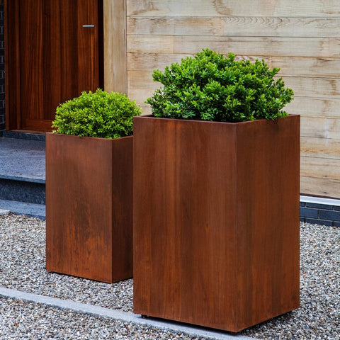 Steel Tall Cube Planter - Set of 2 - Outdoor Art  Pros