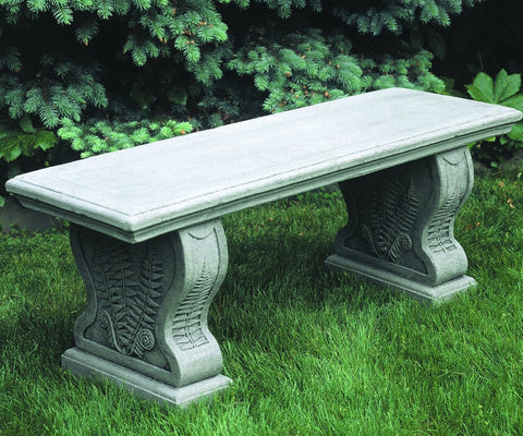 Straight Woodland Ferns Garden Bench - Outdoor Art Pros