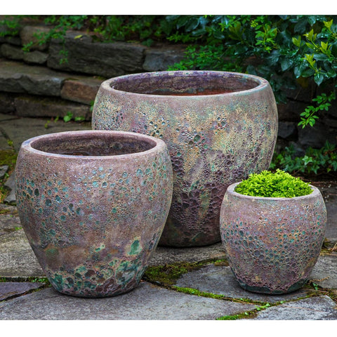 Symi Planter Set of 3 in Angkor Green Mist - Outdoor Art Pros