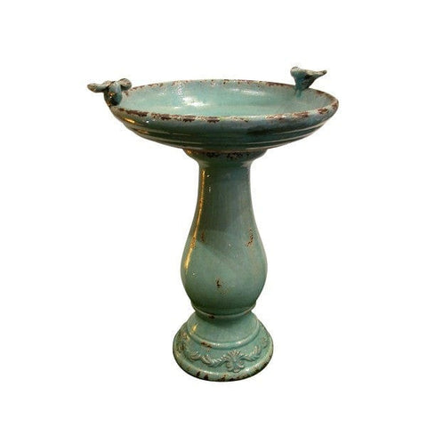 Alpine Antique Ceramic Birdbath W/ 2 Birds -Turquoise