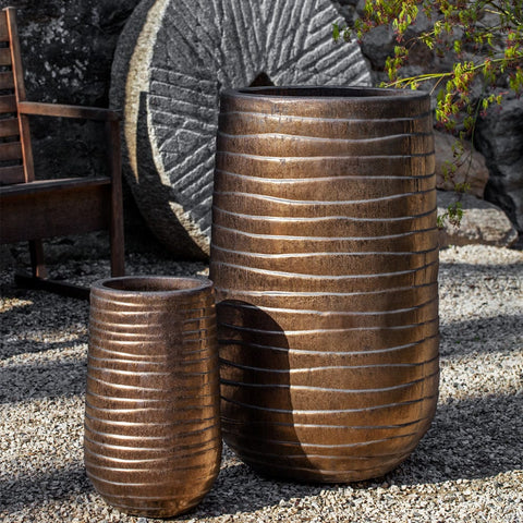 Tall Ipanema Planter Set of 2 in Bronze - Outdoor Art Pros