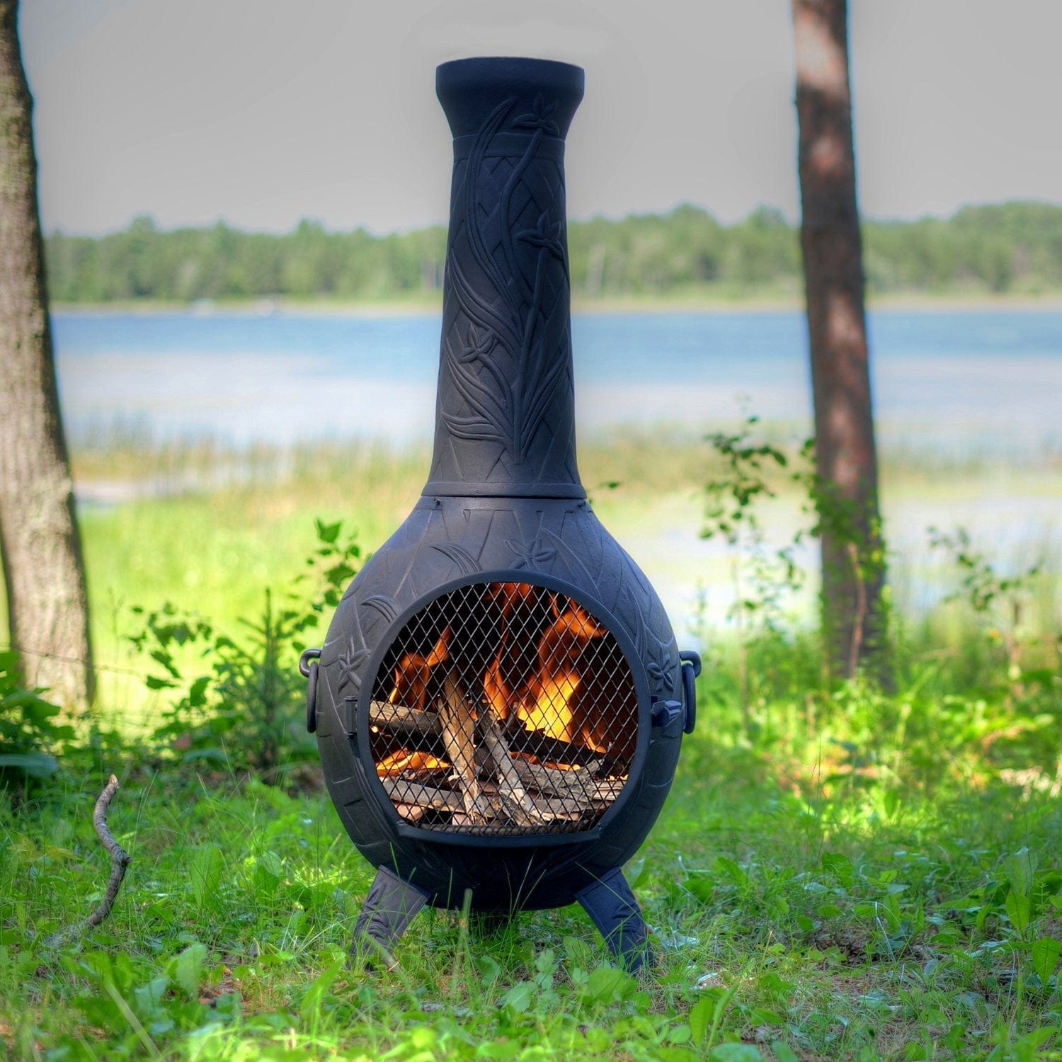 The Blue Rooster Orchid Chiminea