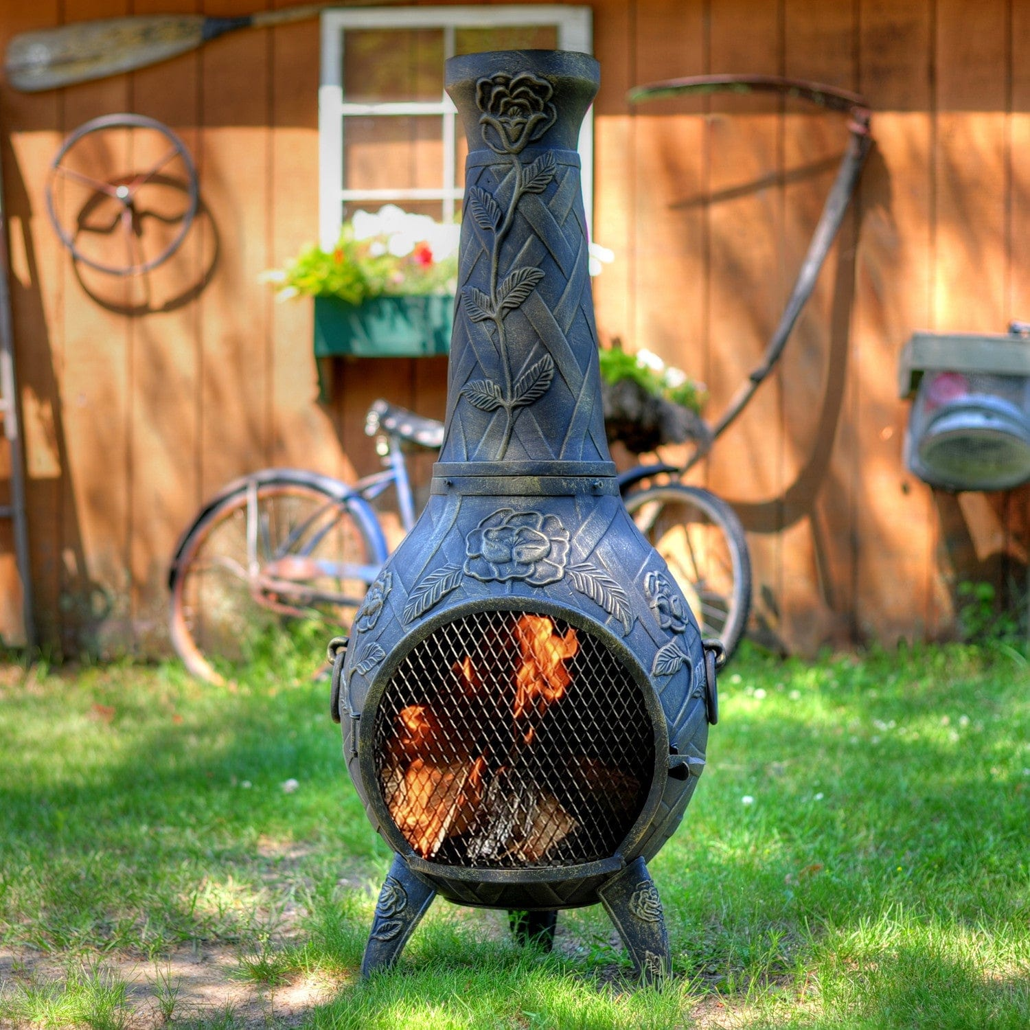 The Blue Rooster Rose Chiminea Outdoor Fireplace Free Shipping