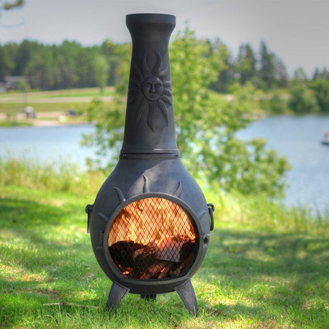The Blue Rooster Sun Chiminea in Cast Iron