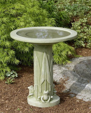 Three Frog Cast Stone Birdbath - Outdoor Art Pros