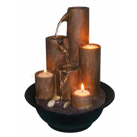 Tiered Column Tabletop Fountain With Candles - Outdoor Art Pros