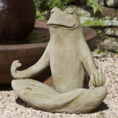 Totally Zen Frog Cast Stone Garden Statue - Outdoor Art Pros