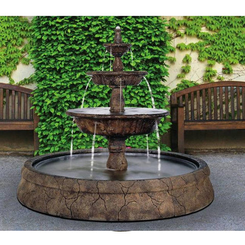 Triple Tazza Tier Outdoor Fountain in Europa Pool - Outdoor Art Pros