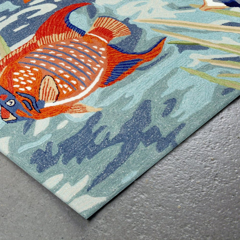 Liora Manne Ravella Tropical Fish Blue Area Rug - Outdoor Art Pros