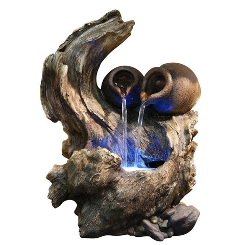 Two Pots On A Tree Branch Tabletop Fountain - Outdoor Art Pros
