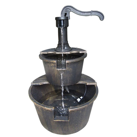 Two Tier Pump & Barrel Fountain - Bronze - Outdoor Art Pros