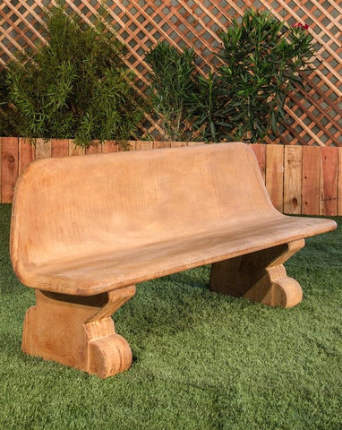 Veneto Modern Stone Bench With Back