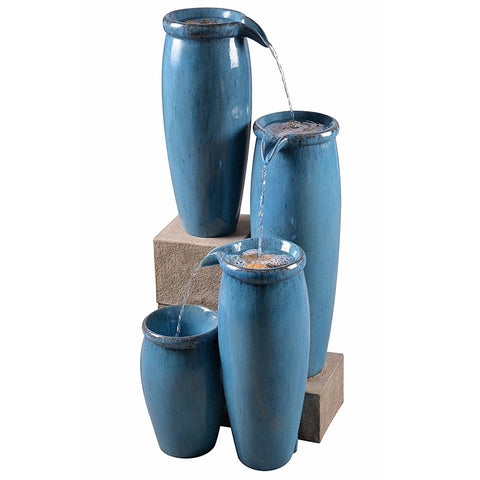 Vessel Indoor/Outdoor Floor Fountain in Textured Blue Finish - Outdoor Art Pros
