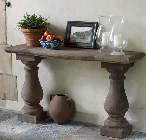 Campania Vicenza Cast Stone Console Table - Outdoor Art Pros
