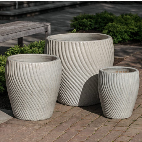 Vortex Planter Set of 3 in Antique Pearl - Outdoor Art Pros