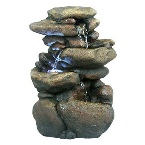 Alpine 3 Tier Rock Tabletop Fountain With White LED Lights