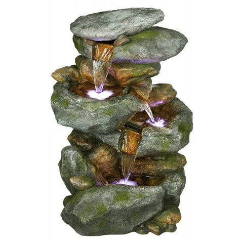 Alpine Rock Waterfall Fountain With LED Lights
