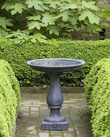 Williamsburg Candlestand Cast Stone Birdbath - Outdoor Art Pros