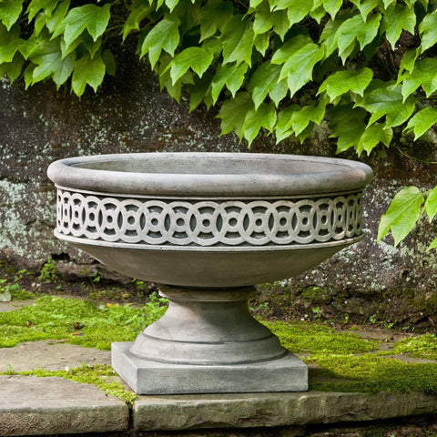Williamsburg Low Fretwork Urn Garden Planter - Outdoor Art Pros