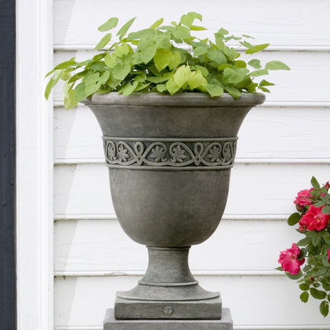 Williamsburg Strapwork Leaf Urn Garden Planter - Outdoor Art Pros