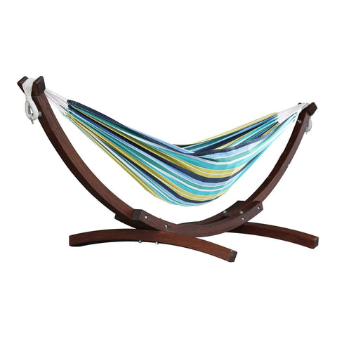 Cayo Reef Double Cotton Hammock with Solid Pine Arc Stand - Outdoor Art Pros