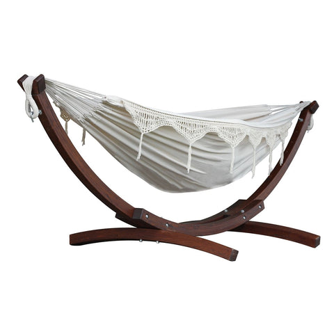 Natural Double Cotton Hammock with Solid Pine Arc Stand - Outdoor Art Pros