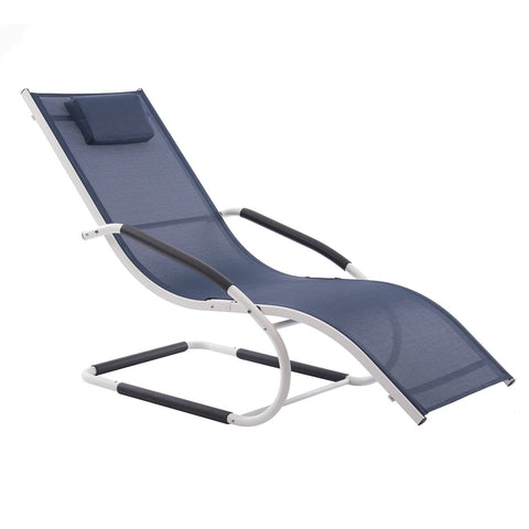 Navy on Matte White Wave Aluminum Lounger - Outdoor Art Pros